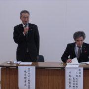 挨拶する永井理事長(左)と中島副部長(右)