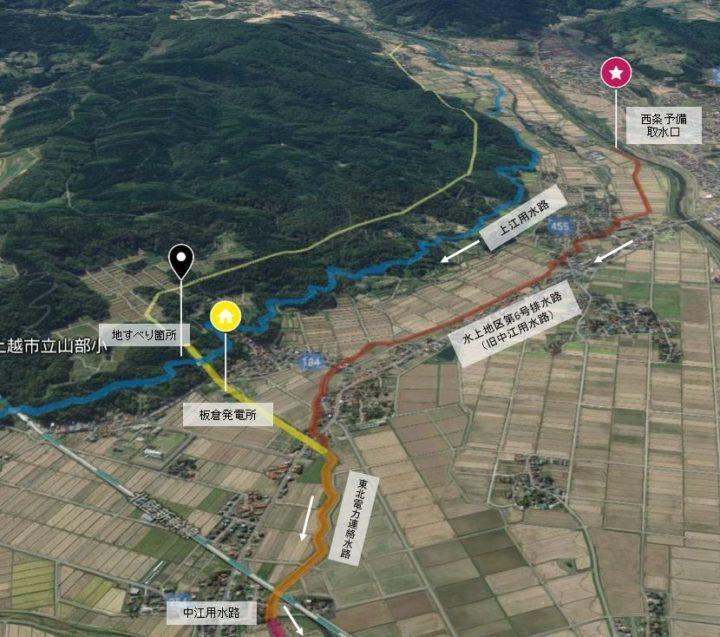 板倉発電所と上江用水路・中江用水路